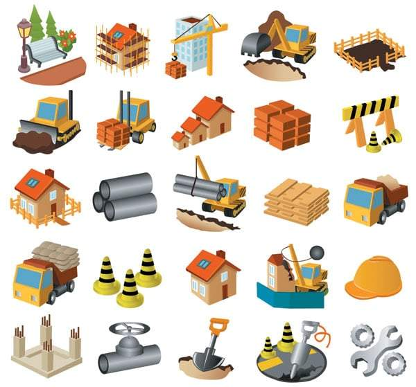 Architectural theme icon vector material