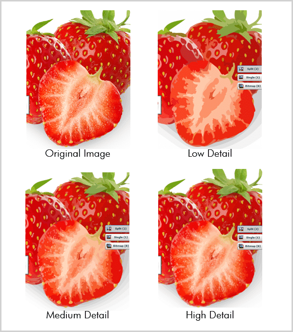 Compare different Detail Level results