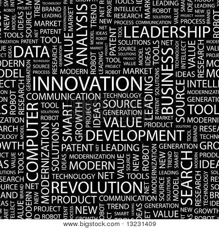 INNOVATION. Seamless Vector Pattern With Word Cloud