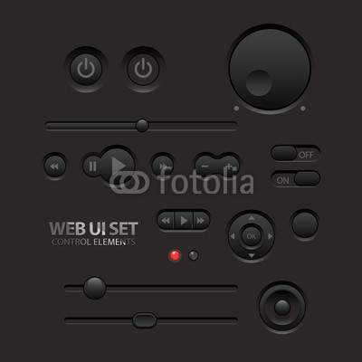 Dark Web UI Elements. Buttons, Switches