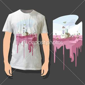 Beautiful print on shirt. Vector Background