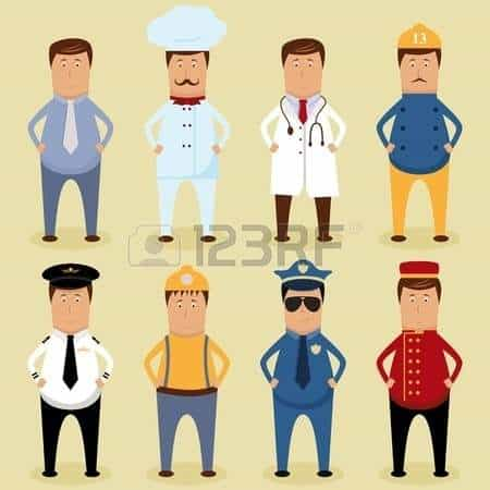 Vector - Vector worker set - ofice worker, chef, doctor, fireman, pilot, carpenter, policeman, porter