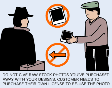 Deliver the designs to your clients but not the stock vectors