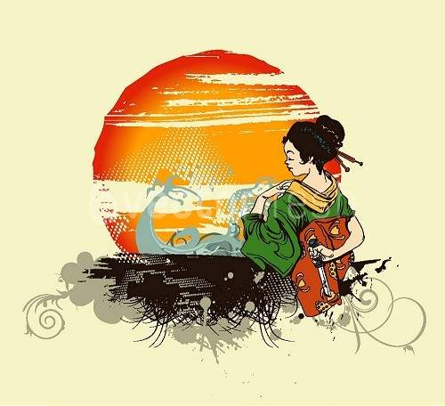 Japanese Geisha standing in front of sunset
