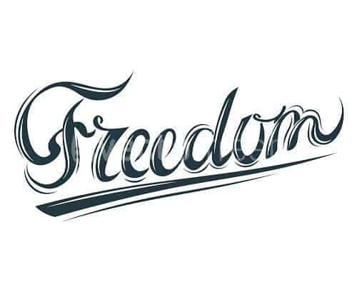 Stylised text of the word Freedom