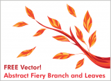 Free Abstract Vector – Fiery Branch and Leaves